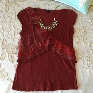 Anthropologie Deletta M red embellished blouse top